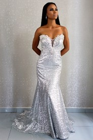 White Strapless Sweetheart Beaded Sequin Embellished Long Prom Dress