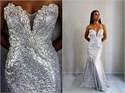 White Strapless Sweetheart Beaded Sequin Embellished Long Prom Dress