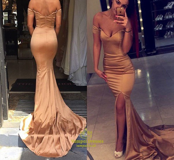 Rose Gold Off The Shoulder Sweetheart Long Mermaid Prom Dress With Front Slit