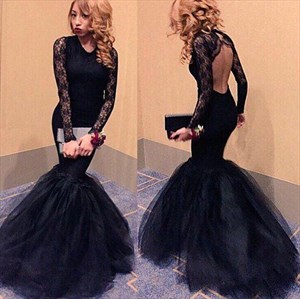 Vintage Lace Long Sleeve Backless Mermaid Tulle Skirt Formal Dress