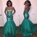 Luxury Strapless Sweetheart Long Beaded Mermaid Prom Dress