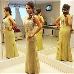 Beaded Embellished Bodice Sheer Back Long Lace Formal Dress
