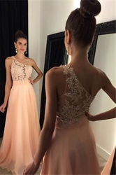 One Shoulder Beaded Lace Bodice Chiffon Long Bridal Dress