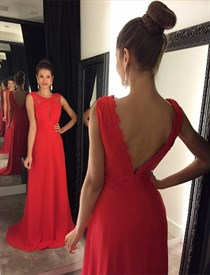Red Embellished A Line Open Back Sleeveless Floor Length Prom Dress