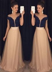 V Neck Short Sleeve Lace Bodice Chiffon Skirt Bridesmaid Dress