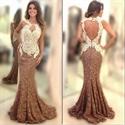 Sleeveless Embellished Lace Open Back Long Mermaid Prom Dress