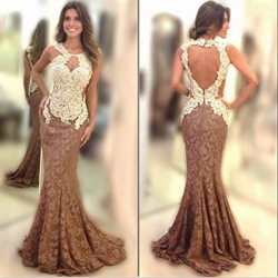 Sleeveless Embellished Lace Open Back Long Mermaid Prom Dress