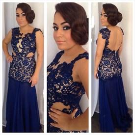 Navy Blue Sheer Lace Applique Open Back Long Sheath Prom Dress