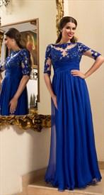 Royal Blue Half Sleeve Beaded Lace Bodice Chiffon Long Prom Dresses