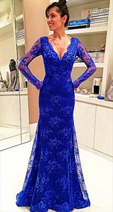 Royal Blue V Neck Long Sleeve Sheer Back Lace Mermaid Prom Gown