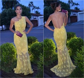 Light Yellow One Shoulder Lace Overlay Sheath Long Evening Dress