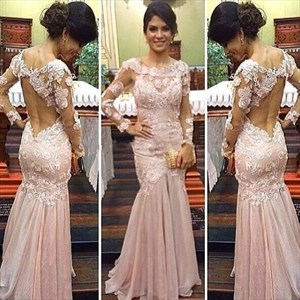 Pink Sheer Lace Applique Long Sleeve Open Back Mermaid Formal Dress