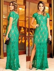 Short Sleeve Lace Embellished Sheath Long Formal Dress With Slit