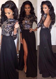 Black Long Sleeve Embellished Open Back Prom Dress With Side Cutouts