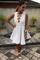 White Lace Embellished Top Open Back Short Skater Homecoming Dresses