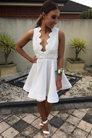 White Lace Embellished Top Open Back Short Skater Homecoming Dresses