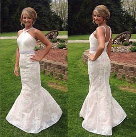 Ivory Halter Beaded Lace Applique Open Back Mermaid Long Formal Dress