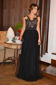 Black Illusion Lace Embellished Bodice Long Open Back Prom Dress