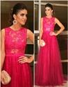 Hot Pink Lace Bodice Chiffon Skirt Floor Length Bridesmaid Dress