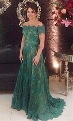 Off The Shoulder Short Sleeve Lace Applique Long Formal Dress