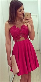 Fuchsia Illusion Lace Bodice Short Chiffon Skater Cocktail Dress