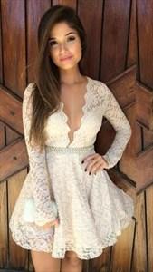 Ivory V Neck Long Sleeve Lace Short Embellished Homecoming Dress