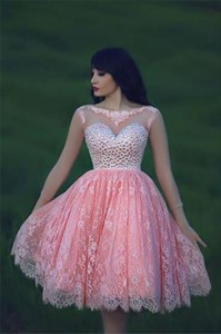 Pink Sheer Long Sleeve Open Back Short Beaded Top Lace Prom Dress