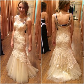 Ivory Beaded Neckline Open Back Lace Long Mermaid Prom Dress