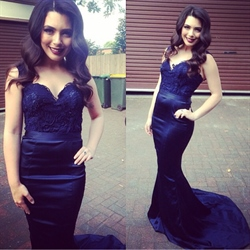 Lace Applique Top Mermaid Style Floor Length Prom Dresses With Straps
