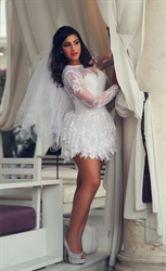 White Sheer Long Sleeve Embellished Open Back Lace Short Wedding Dress
