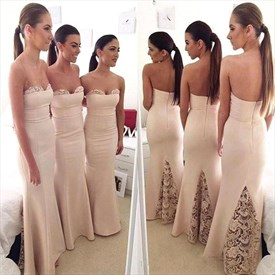 Blush Pink Strapless Sheath Chiffon Long Applique Back  Bridal Dress