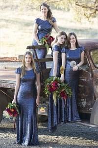Sparkly Short Sleeve Backless Floor Length Sheath Bridal Dresses