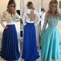 Blue A Line Lace Bodice Sheer Long Sleeve Chiffon Prom Dress