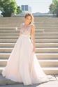 V Neck Sequin Bodice Floor Length Prom Dress With Open Back