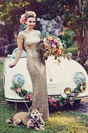 Gold Open Back Sequin Embellished Sheath Floor Length Prom Dress
