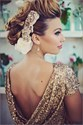 Gold Open Back Sequin Embellished Sheath Floor Length Prom Dress
