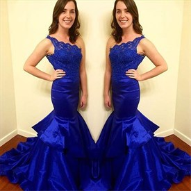 Royal Blue One Shoulder Lace-Bodice Long Mermaid Evening Dress