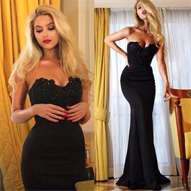 Black Strapless Sweetheart Mermaid Embellished Long Prom Dress