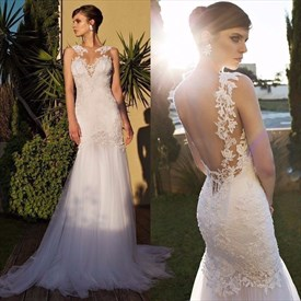 Ivory Sheer Lace Embellished Open Back Tulle Mermaid Wedding Dress