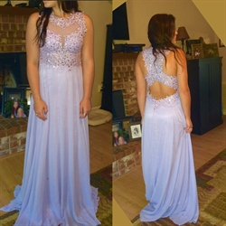 Lilac Illusion Sheer Beaded Lace Applique Chiffon Long Prom Dress