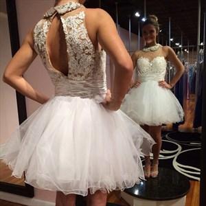 White High Neck Sheer Neck Lace Embellished Short Cocktail Dress