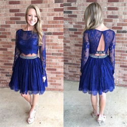 Royal Blue Short Long Sleeve Beaded Two Piece Lace Prom Dress