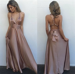 Pastel Pink Criss Cross Back Floor Length Prom Dress With Straps