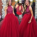 Burgundy Halter Beaded Bodice Tulle Ball Gown Prom Dress With Keyhole