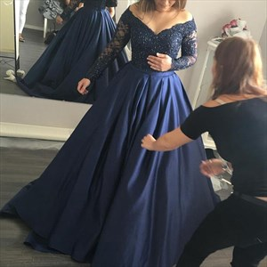 Navy Blue Beaded Bodice Off The Shoulder Long Sleeve Evening Dress