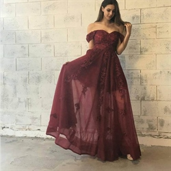 Burgundy Off The Shoulder Sweetheart Short Sleeve Lace Formal Dress