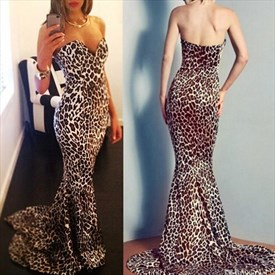 Leopard Print Strapless Sweetheart Mermaid Long Maxi Dress