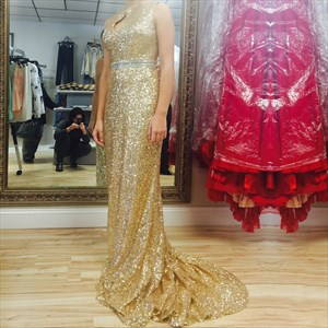 Gold Sparkly Sequin Long Bridesmaid Dress With Keyhole Front