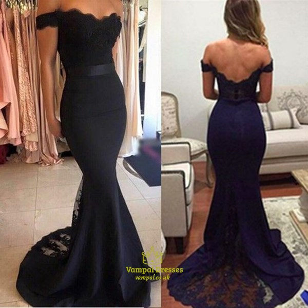 Dark Navy Blue Lace Off The Shoulder Mermaid Open Back Prom Dress