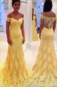 Yellow Lace Off The Shoulder Illusion Back Mermaid Prom Dress